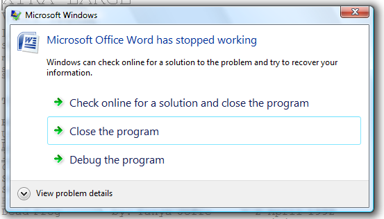 Microsoft Office Word 2007 crash