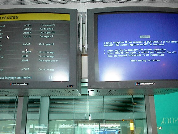 airport blue screen of 